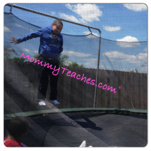 They love stepping into their yard and going for a jump on the trampoline!