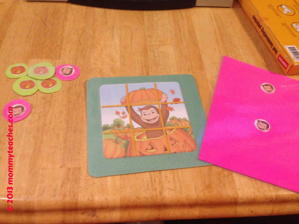I laminated the Curious George tic-tac-toe game so that it could last longer!